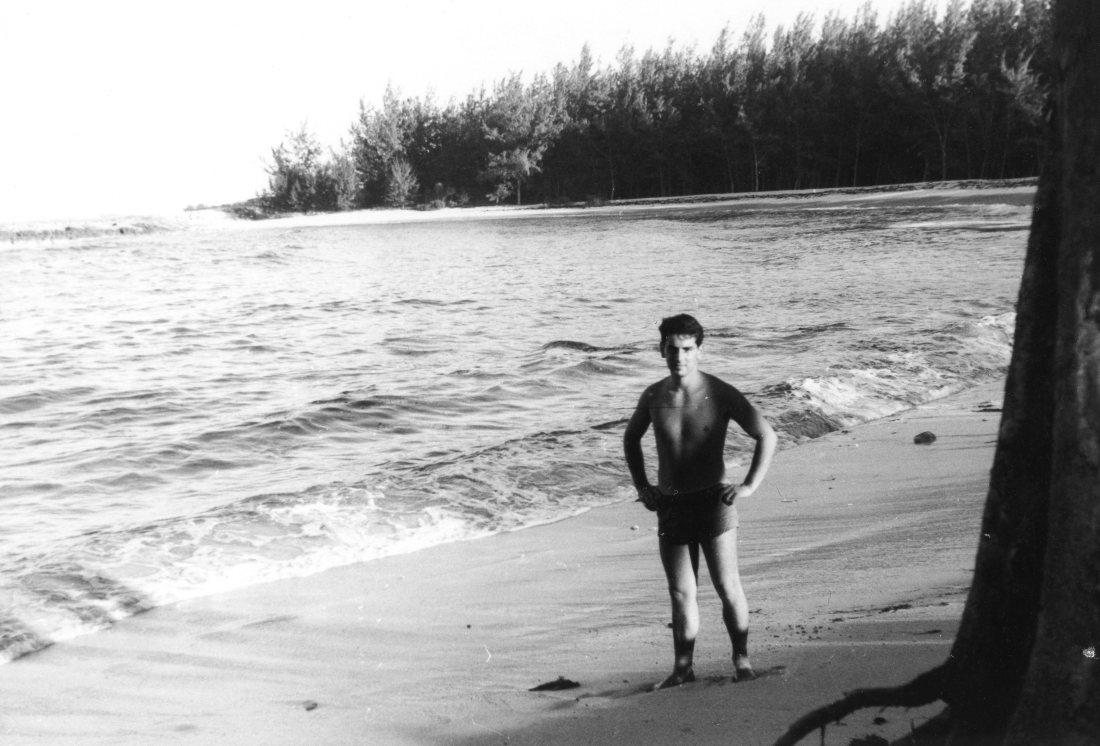 Dec 64 Colin on beach in Bahamas