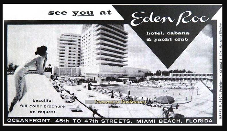 Eden Roc hotel Miami 1960s advert