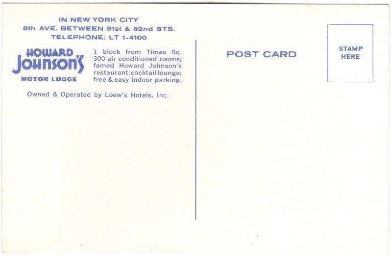 HoJo New York city postcard - rear