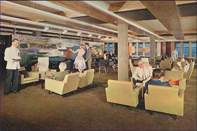 Oriana postcard - first class Princess Lounge