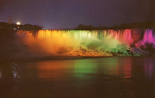 2 - Niagara Falls illuminated view American falls taken from Canada