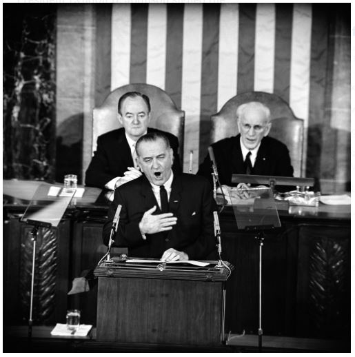 Lyndon B Johnson giving his voting rights address to Congress