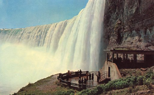 Niagara Falls Plaza below Horseshoe Falls - observation plaza part of the famous tunnel trip at Table Rock