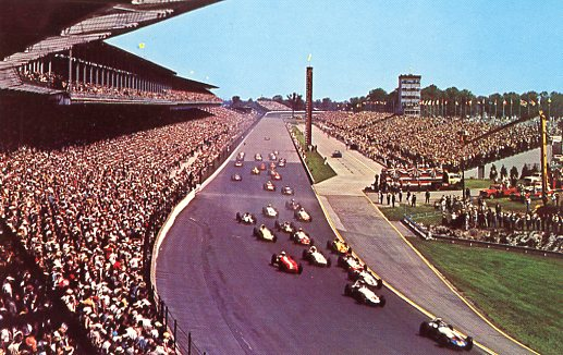 1965 04 04 Indianapolis speedway postcard front