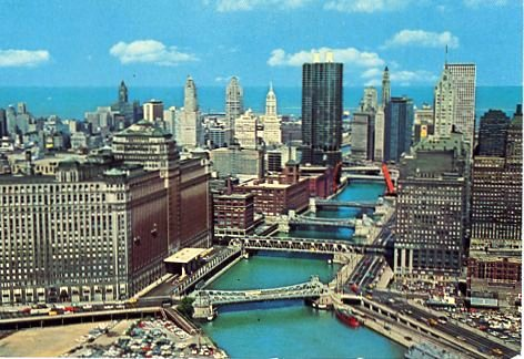 1965 04 10 Chicago river postcard front