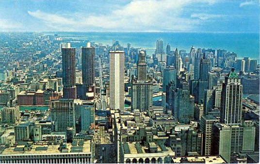 1965 04 11 Chicago skyline postcard front