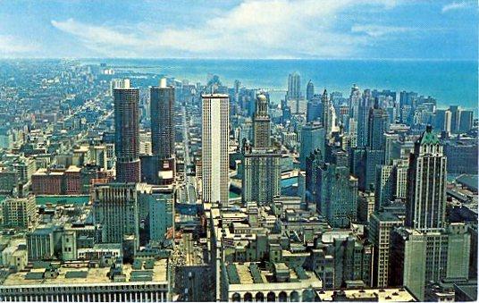 1965 04 11 Chicago skyline postcard front