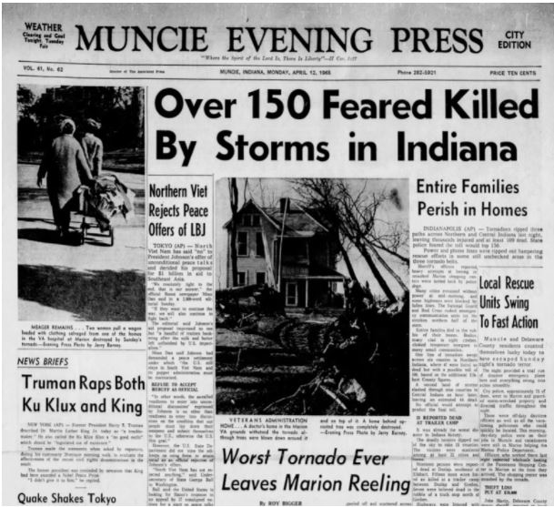1965 04 11 Palm Sunday tornadoes headline