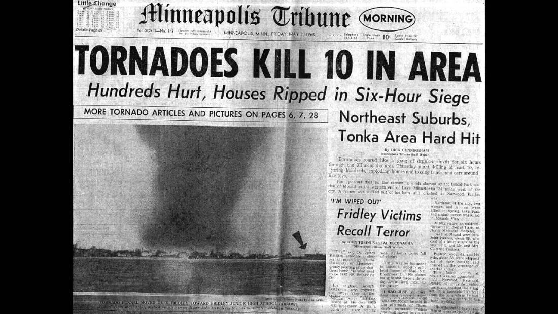 1965 04 13 Palm Sunday tornadoes headline