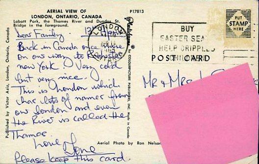 1965 04 14 London Ontario postcard back