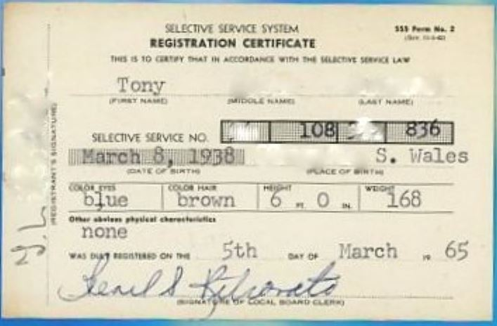 1965 05 01 Tony's SSS registration card front