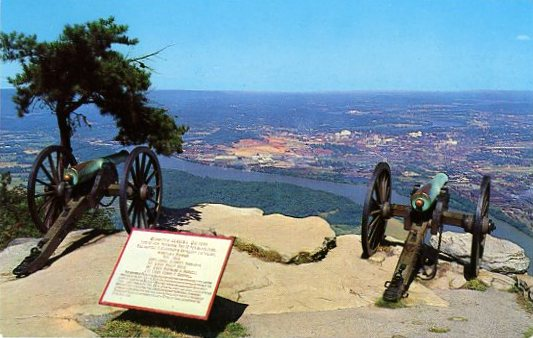 GARRITYS ALABAMA BATTERY Lookout Mountain, Chattanooga Tenn. This Battery was placed n Lookout Moutain on November 24 1863 facing the Union Army in the plaeau below, guarding the heights of Lookout Mountain..jpg
