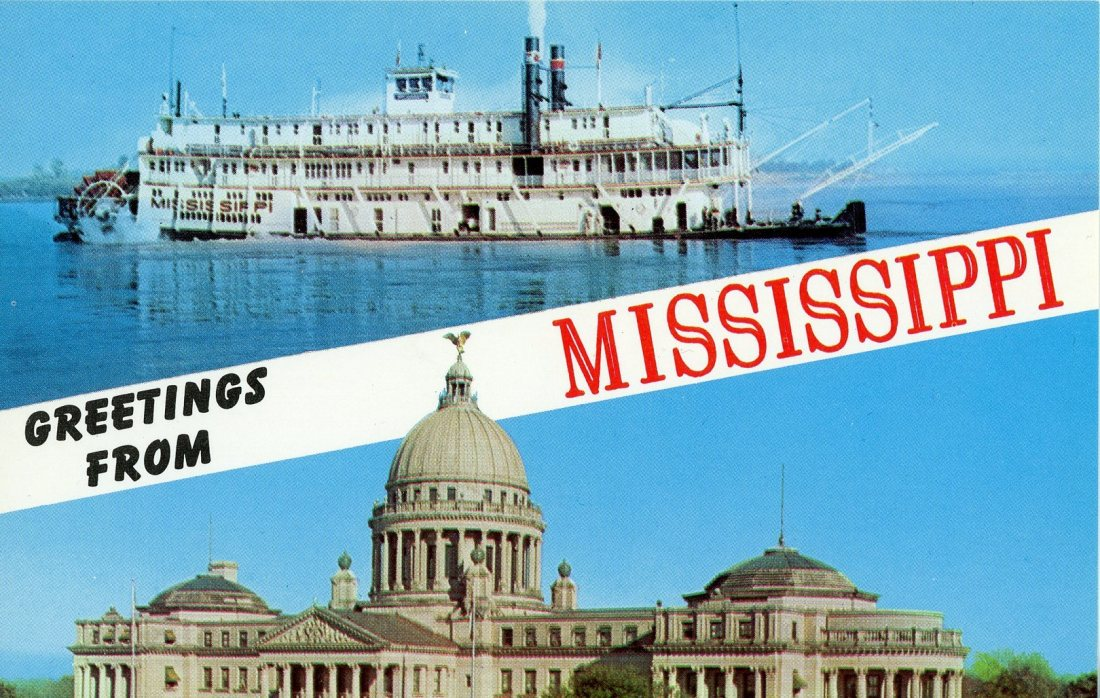1965 06 New Orleans Mississippi river postcard