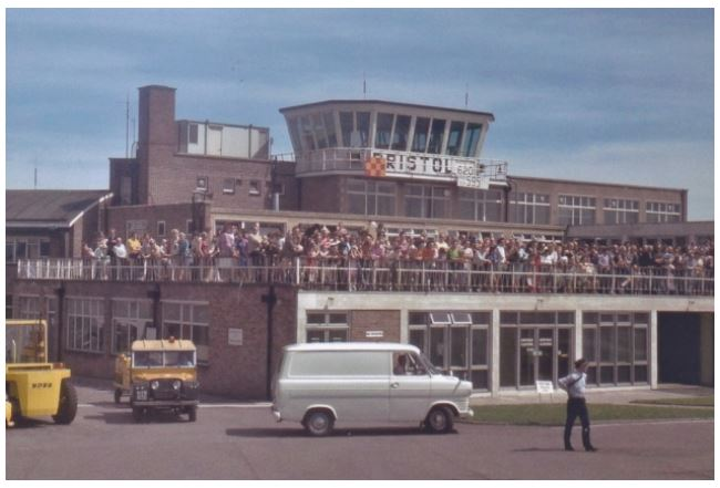 The viewing platform at Bristol Airport in the 1960s