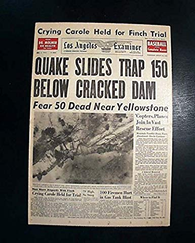 1959 yellowstone earthquake headline