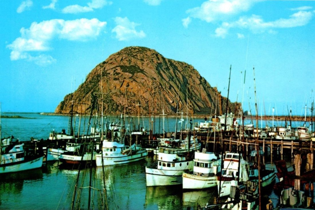 1960s postcard Morro Bay Rock and harbour