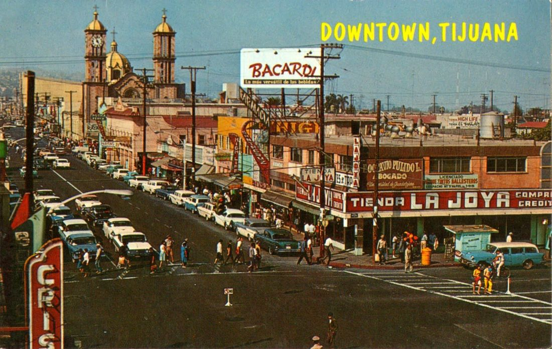 downtown Tijuana 1960s postcard