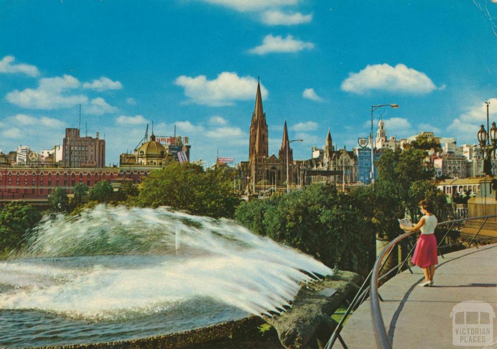 south gate fountain, melbourne, 1965 postcard